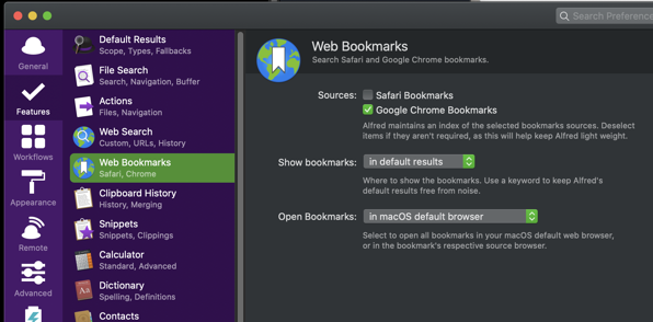 Alfred Web Bookmarks settings