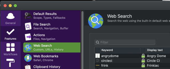 alfred web search settings