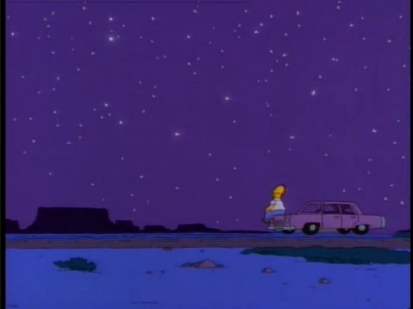 homer simpson sitting on the hood of his car staring at the stars