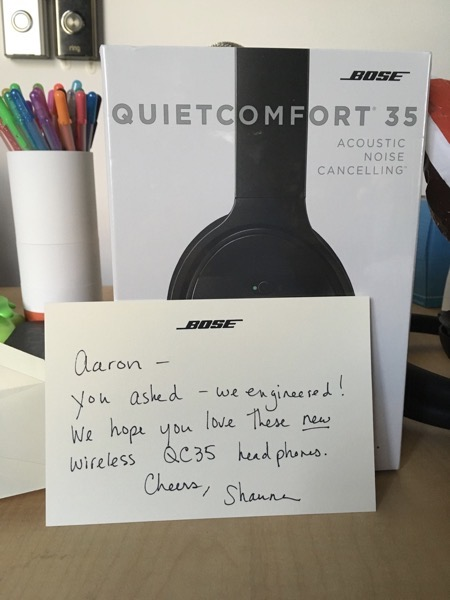 a pair of QC35s with a nice card from Bose.