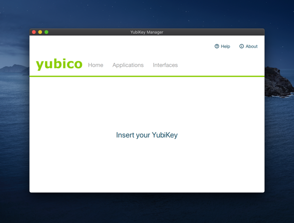a screenshot of the Yubikey app, a simple app built with electron (or some similarly crappy web wrapper UI framework)