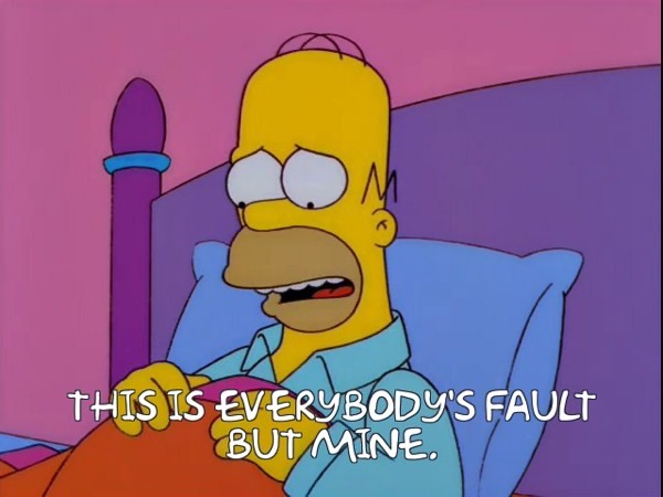 homer simpson saying this is everbody's fault but mine