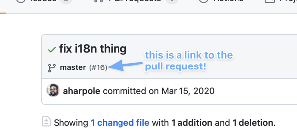 screenshot of a GitHub commit page showing that you can see a link to the pull request a commit was merged to the main branch in