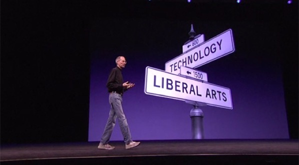 Steve Jobs standing by an image of a street sign representing the intersection of technology and liberal arts